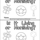 Living or Nonliving Emergent Reader for Kindergarten- Science