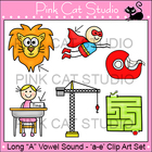 Long A Vowel Sound Spelled 'a-e' Phonics Clip Art Set - Co