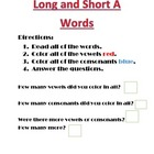 Long A and Short A Vowel  Sound Words
