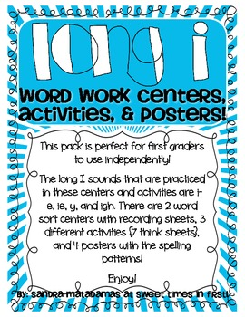 Long I Word Work Centers, Activities, and Posters
