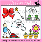 Long O Vowel Sound Spelled 'ow' Phonics Clip Art Set - Com