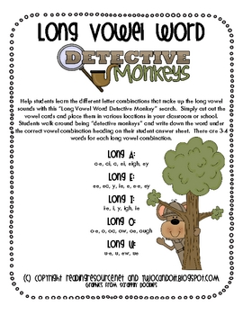 Long Vowel Word Detective Monkeys (Long U)