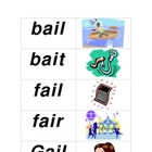 Long Vowel &#039;ai&#039; Flashcards/Picture Match
