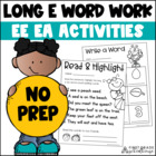 Long e Word Work Activities ee ea Words