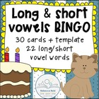 Long vs Short Vowels BINGO Game Cards