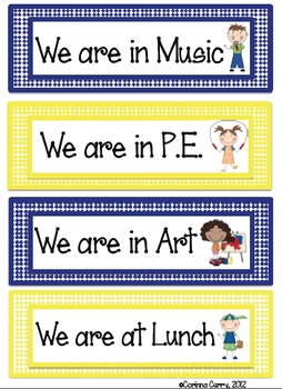 Look Where We Are Poster Labels (Navy Blue and Yellow)