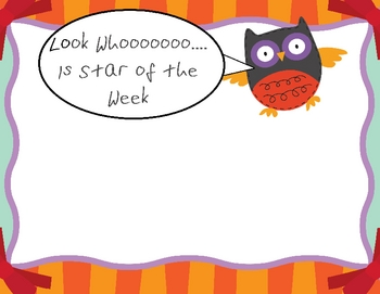 Look Whooo is Star of the Week - Owl Theme