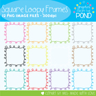 Loopy Square Borders / Frames - Graphics for Commercial Use