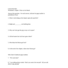 Lord of the Flies Quiz (or Worksheet) ch. 3&4 w/ Answer Key.