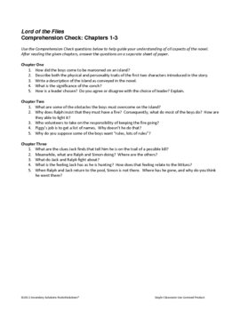 Lord of the Flies Study Guide Questions - Entire Novel