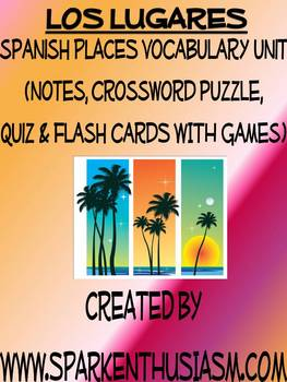 Los Lugares Vocab Lists, Activities, Crossword, Games, & Q