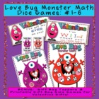 Love Bug Monster Math Dice Center with BONUS Valentines Gi