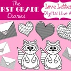 Love Letters {Digital Line Art} Valentines Day Hearts Raccoons