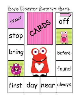 Love Monster Antonym Activities