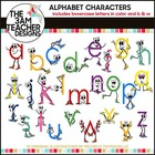 Lower Case Letters with Character Clip Art in B/W &amp; Color!!