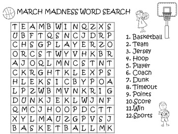 MARCH MADNESS WORD SEARCH