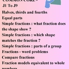 MATH COMMON CORE GRADE 1 - J1 To J9 - FRACTIONS  ELEMENTARY