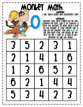 MATH FACTS  - Monkey Math Facts