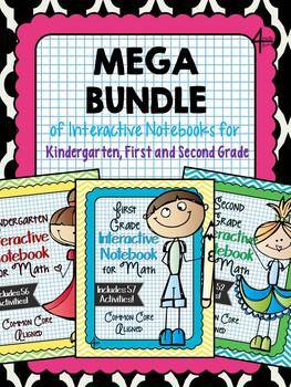 MEGA BUNDLE of Kindergarten, First and Second Grade Math Interactive Notebooks