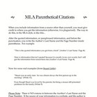 MLA Parenthetical Citations Handout