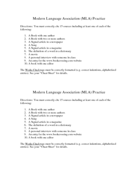 MLA Practice Homework Assignment