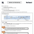 MS Word 2010 Basics - Bullets and Numbering