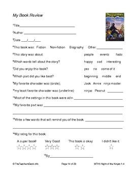 MTH05 Ninjas At Night Reading Comprehension Worksheets