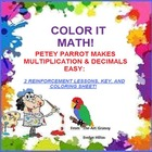 """MULTIPLY AND COLOR ME"" PARROT--MATH/ARITHMETIC/ART FUN HANDOUT!"""