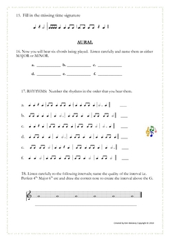 MUSIC: Theory and Aural Quiz