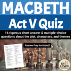 Macbeth Act V Quiz
