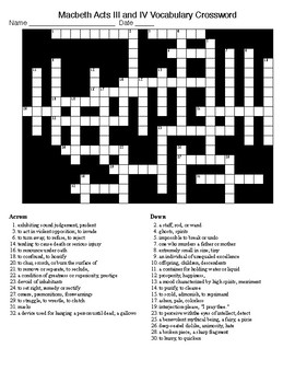 Macbeth Acts III and IV Word Search and KEY