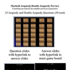 Macbeth Jeopardy and Double Jeopardy Review Game