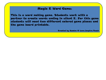 Magic E Word Game