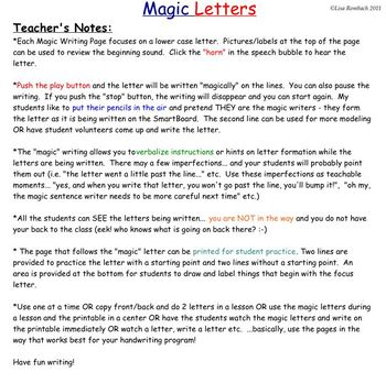 Magic Lower Case LETTERS d'nealian Handwriting SmartBoard Lessons