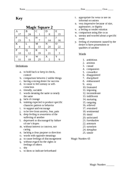 Magic Square 2 Vocabulary