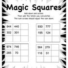 Magic Squares Math Worksheet