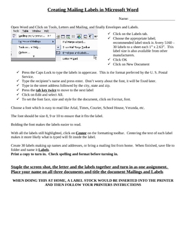 Mail Merge MSWord Activity2
