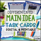 Main Idea Task Cards Activity { 52 Picture & Text Cards }
