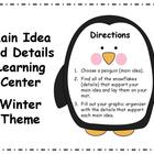 Main Idea and Details Learning Center - Winter Theme