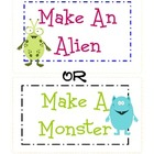 Make a Monster or Make an Alien Art Game Activity 4 Class,