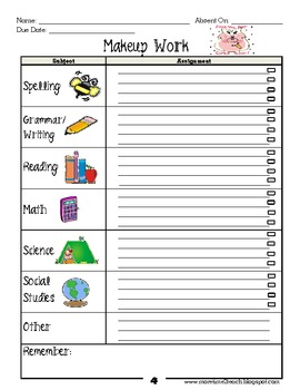 Makeup Work Packet for Absent Students