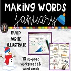 Making Words JANUARY Winter writing center with word cards