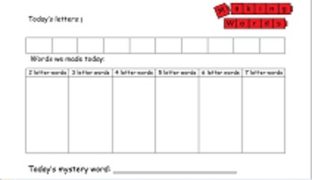 Making Words Recording Sheet