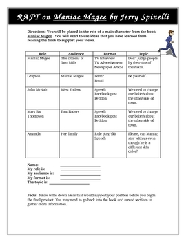 Maniac Magee RAFT Comprehension Activity, Assessment Common Core