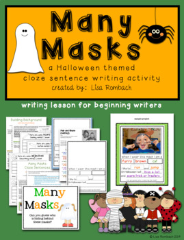 Many Masks Cloze Sentence writing activity for beginning writers