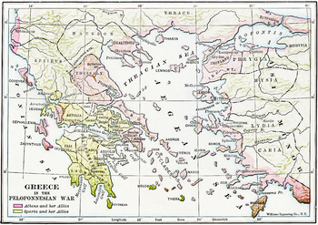 Map of Ancient Greece during the Peloponnesian Wars