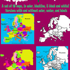 Maps of Europe Clip Art: in Color, Black and White, and Blackline