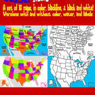 Maps of United States (USA) Clip Art: in Color, Black and
