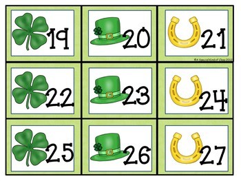 March Calendar Numbers with a St Patrick's Day theme
