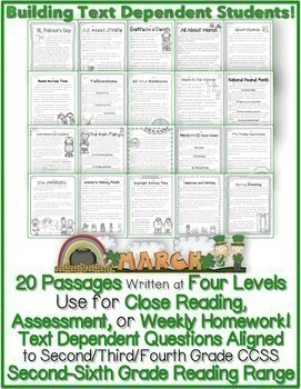 March Close Reading Passages for Text Evidence w/ CCSS Ali
